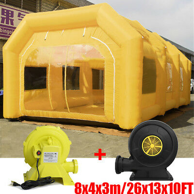 26x13x10Ft Inflatable Spray Paint Booth Custom Car Tent + Filtration System+ Fan
