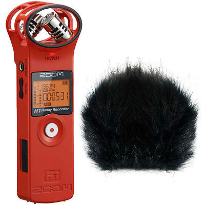 Zoom H1 RD Recorder Rot + Fell-Windschutz
