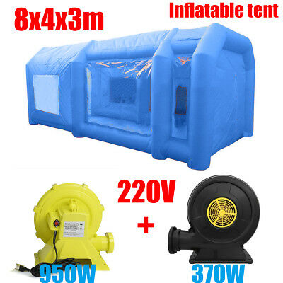 26Ft 8M Portable Giant Oxford Cloth Inflatable Car Spray Booth Paint Tent Blue