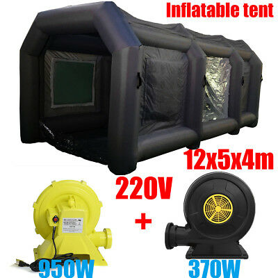 39Ft 12M Portable Giant Oxford Cloth Inflatable Car Spray Booth Paint Tent + Fan