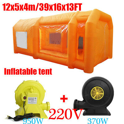 12x5x4m Inflatable Spray Paint Booth Custom Tent Car + Filtration System+ Fan