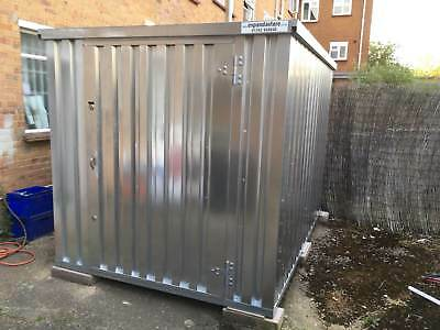 FLAT PACK CONTAINER, Unpainted galvanised steel, Anti-vandal storage, 3 m long