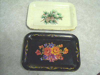 Two Wheeling Steel Tin Trays by Harvell Yorkville Works