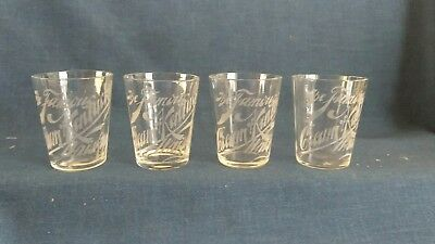 The Famous Cream of Kentucky Whiskey Etched Shot Glass Antique Set of Four (4)