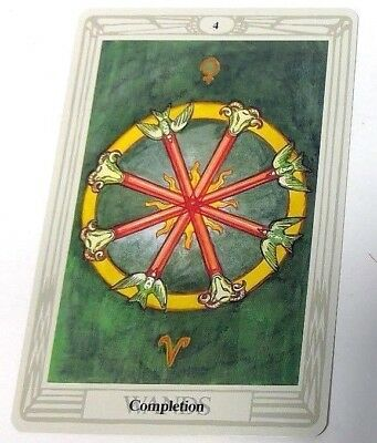 Completion 4 Wands single tarot card Crowley Large Thoth Tarot 1996 AGM Agmuller