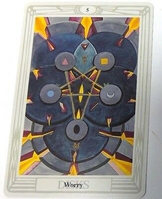 Worry 5 Disks single tarot card Crowley Large Thoth Tarot 1996 AGM Agmuller