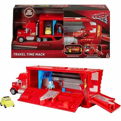 Disney Cars 3 Toy Travel Time Mack Car Transporter Luigi & Guido Launcher NEW