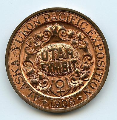 UTAH 1909 Alaska Yukon Pacific Expo Copper So-Called Dollar HK-359 Red BU