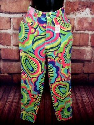 Bonjour Womens Jeans Sz 10 Psychedelic Pattern High Waist Tapered Leg VTG NWT