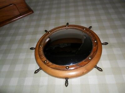 Vintage Small Wooden Convex Ships Mirror