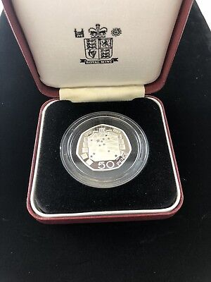 UK 1992-1993 SILVER PROOF DUAL DATE FIFTY PENCE 50p COIN w/BOX