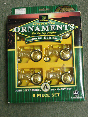 John Deere  Decorative  Gold   Ornament Tractor Set Of 6  Special Edition In Box