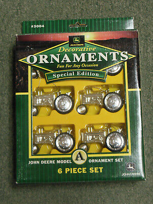 John Deere  Decorative Silver  Ornament Tractor Set Of 6  Special Edition In Box