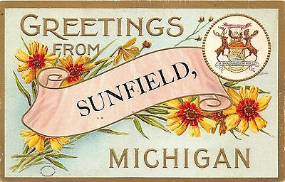 Sunfield michiganembossed flower greeting postcardmichigan state sunfield michiganembossed flower greeting postcardmichigan state sealc1910 pc m4hsunfo