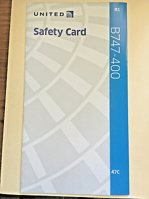 United Airlines Boeing 747-400 Safety Card now retired United 747 Farewell