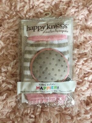 HAPPY KNEES Baby Knee Pads Girls Pink Gray Striped Bella Tunno Boutique Toddler!