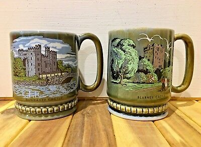 Irish Coffee Mugs Blarney Castle Bunratty Castle Green Made in Ireland EUC