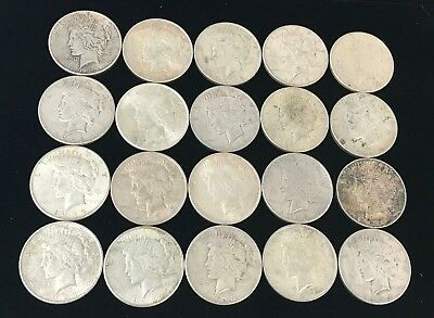 Lot of 20 Peace Silver Dollars