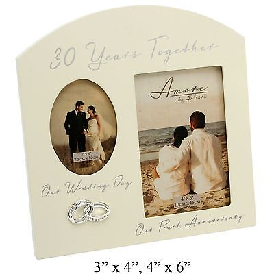 30Th Anniversary Pearl Wedding Cream Photo Frame -30 Years Together Amore