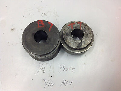 "2-Pc B7 & T7 Bead Crimper Roller Dies 7/8"" Bore, 3/16 Key  2.5"" Center of Shafts"