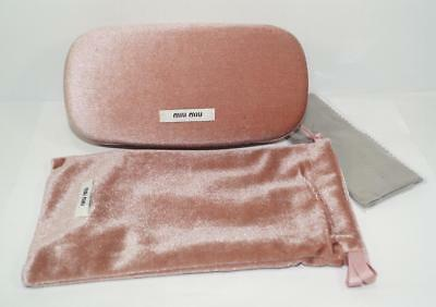 New Auth Miu Miu Pink Velvet Clam Shell Hard Sunglasses Glasses Case W/pouch