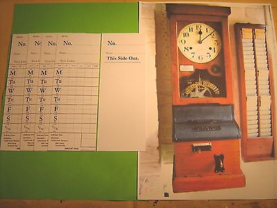 Vintage National Time Recorder Clocking In Cards X 5,  New  White, Free Post Uk