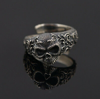 New! 925 Sterling Silver Carved Detailed Gothic Flower Punk Engraved Skull Ring