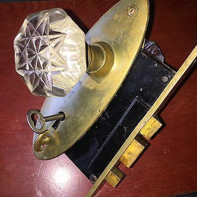 Antique Rare Chicago Niles Brass Door Lock & Glass Knobs & Solid Backplates #2