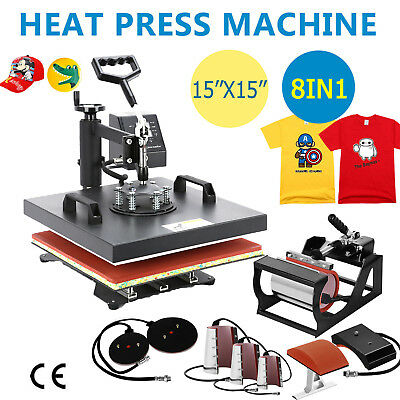 """8 in 1 Heat Press Machine Fit T-Shirts 15""""x15"""" Combo Kit Sublimation Swing away"""