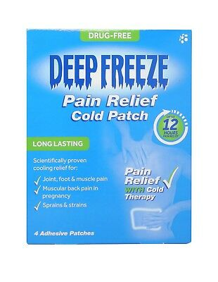 Deep Freeze Pain Relief Cold Patches - 4 Adhesive Patches - Free Delivery