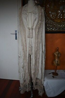 Chale Ancien Brode Soie Canton - Antique Silk Canton Piano Shawl Cape Embroidery