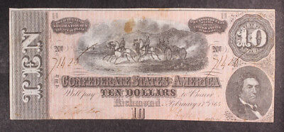 1864 Confederate States of America $10 Ten Dollar Bill Civil War Currency  T-68