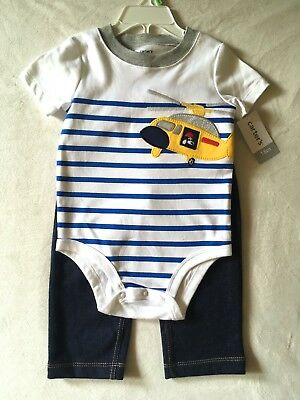 Carter's Baby Boys Helicopter Stripe Bodysuit Set 18 Months NWT Carters