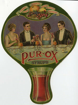 Rare Antique Pur-Ox Syrups 1920s Art Deco Die-Cut Cardboard Advertising Hand Fan
