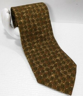 "HUGO BOSS Men's Italian Silk Tie Diamond Grid Floral 3.75""x 57 Olive Gold Purple"