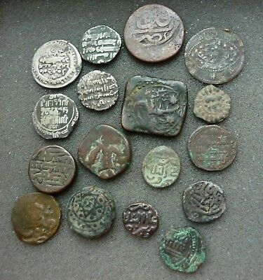 lot of 16 ANCIENT ISLAMIC INDIA AND EASTERN BRONZE AND SILVER COINS
