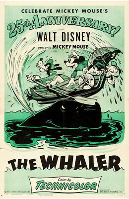 Walt Disney Mickey Mouse in The Whalers Vintage Movie Poster 1953
