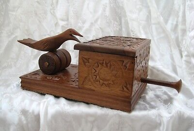 Vintage Hand Carved Wooden Treen Cigarette Dispenser Collectable Folk Art