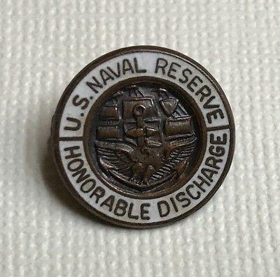 Vintage Wwii Us Naval Reserve Honorable Discharge Lapel Badge Usn Navy Pin (E)