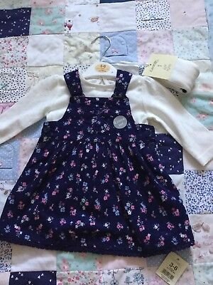Blue Baby Girl Drss 3-6 Months BNWT 3 Piece Set With Tights