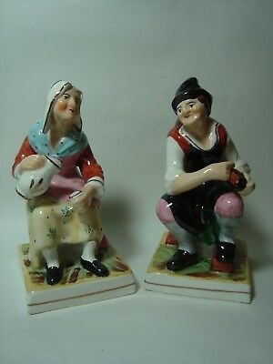 A Pair Of Antique Staffordshire Figures, 'jobson & Nell'.