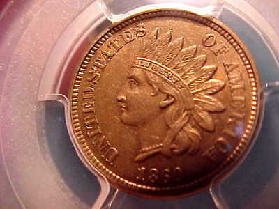 """1860 CN """"Pointed Bust"""" Indian Head Cent PCGS """"Secure"""" AU58  **FREE US SHIP**"""