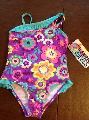 NWT Breaking Waves Toddler Girls 5T One Piece Purple Floral Swimsuit UPF 50+