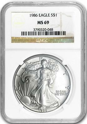 1986 $1 American Silver Eagle 1 oz NGC MS69
