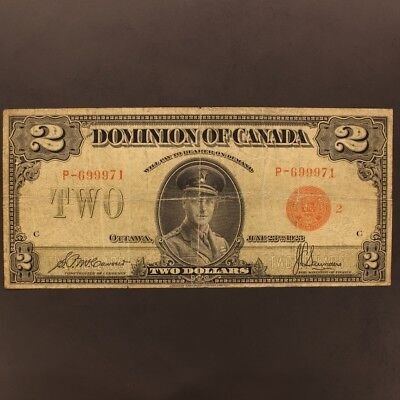 Canada 2 Dollars 6.23.1923 DC-26g Series P Banknote Fine