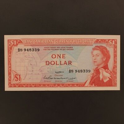 East Caribbean States Dollar 1965 P#13a Banknote AU