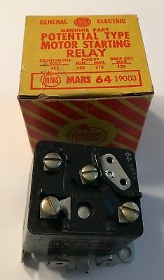 Mars/ General Electric 19003 Mars 64 Potential Type Motor Starting Relay-New