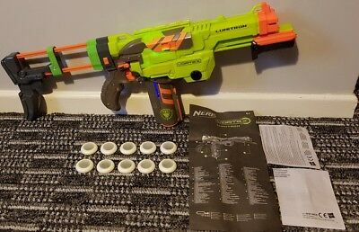 nerf gun vortex lumitron firefly light up mag + 10 glow discs /bullets 12.99p