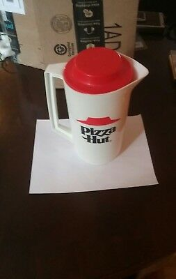 Vintage Pizza Hut Pitcher White and Red with Lid