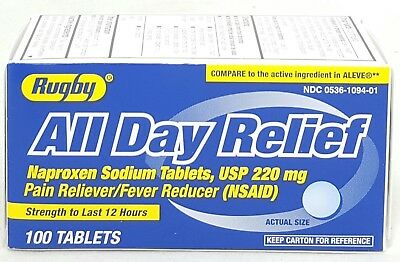 Rugby All Day Relief Naproxen Sodium Tablets 220 Mg 100 Count
